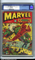 Golden Age (1938-1955):Superhero, Marvel Mystery Comics #40 (Timely, 1943). Alex Schomburg is at the top of his game here with his famous Zeppelin cover, whic...