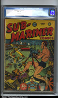 Golden Age (1938-1955):Superhero, Sub-Mariner Comics #5 (Timely, 1942). Prince Namor puts the hurt on some Axis goons on this classic war cover by Al Gabriell...
