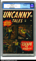 Golden Age (1938-1955):Horror, Uncanny Tales #3 White Mountain pedigree (Atlas, 1952). A gorgeouscopy of this pre-code horror classic shows incredible col...