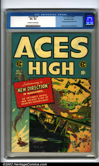 Aces High #1 Gaines File pedigree 9/12 (EC, 3-4/1955). A beautiful comic from the publisher's file with a perfect spine...