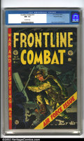Golden Age (1938-1955):War, Frontline Combat #12 Gaines File pedigree 8/11 (EC, 1953). JackDavis' dramatic use of light and shadow highlights the cover...