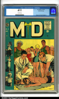 M.D. #4 Gaines File pedigree 9/12 (EC, 1955). The Johnny Craig cover for this issue shows physicians attending to a drow...
