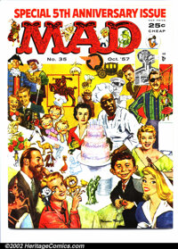 Mad #35 Gaines File pedigree (EC, 1957). Wraparound cover art by Norman Mingo. Fifth anniversary issue. Art by Wood, Min...