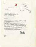 Explorers:Space Exploration, [Buzz Aldrin] Typed Letter Signed by Wernher von Braun. ...