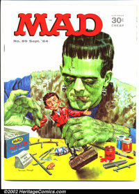 Mad #89 Gaines File pedigree (EC, 1964). Frankenstein cover. Walt Kelly and Charles Schulz art. A photo-certificate atte...