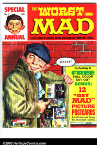 Worst From Mad #12 Gaines File pedigree (EC, 1969). Mad postcards bonus insert. A photo-certificate attesting to the Gai...