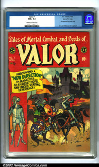 """Valor #1 Gaines File pedigree 9/12 (EC, 1955). The first issue of this """"New Trend"""" EC title offers action-pack..."""
