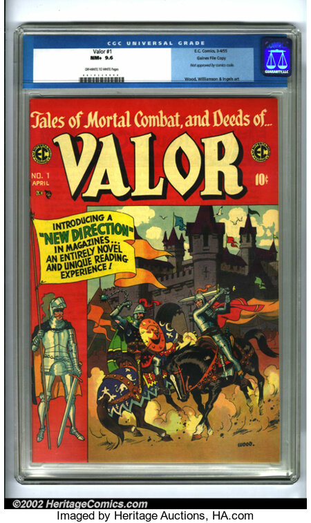 """Valor #1 Gaines File pedigree 9/12 (EC, 1955). The first issue of this """"New Trend"""" EC title offers action-packed stories abo..."""