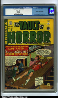 "Vault of Horror #12 (EC, 1950). A scarce EC book, this was one of the first horror titles. The ""rack"" cover by..."