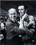 Autographs:Photos, Red Auerbach and Bob Cousy Dual-Signed Oversized Photograph. Theman who built the Boston Celtic dynasty that reigned in th...