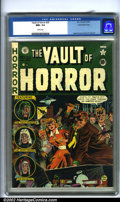 Golden Age (1938-1955):Horror, Vault of Horror #20 Gaines File pedigree 9/12 (EC, 1951). JohnnyCraig's frenetic cover of an unseen vampire being staked in...