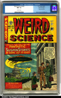 "Golden Age (1938-1955):Horror, Weird Science #13 (#2) Gaines File pedigree 7/10 (EC, 1950). A classic ""flying saucers over Washington"" cover by Al Feldstei..."
