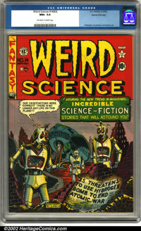 Weird Science #14 (#3) Gaines File pedigree 8/11 (EC, 1950). This pedigree book features one of Al Feldstein's best robo...