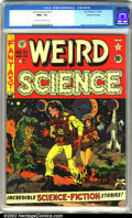 "Golden Age (1938-1955):Science Fiction, Weird Science #10 Gaines File pedigree 8/11 (EC, 1951). Anawe-inspiring sci-fi cover drawn by the ""master"" Wally Wood, wit..."