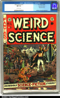 Golden Age (1938-1955):Science Fiction, Weird Science #13 Gaines File pedigree 9/12 (EC, 1952). A gorgeousWally Wood cover highlights this exceptional issue. Insid...