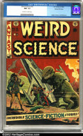 Golden Age (1938-1955):Science Fiction, Weird Science #15 Gaines File pedigree 9/12 (EC, 1952). A classic Wally Wood dinosaur cover highlights this fabulous EC issu...