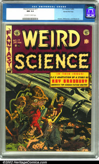 Weird Science #17 Gaines File pedigree 6/9 (EC, 1953). Another killer-alien cover done by the incredible Wally Wood grac...