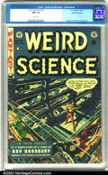 Golden Age (1938-1955):Science Fiction, Weird Science #20 Gaines File pedigree 8/11 (EC, 1953). A greatWally Wood cover illustration depicting a man alone in space...