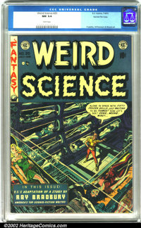 Weird Science #20 Gaines File pedigree 8/11 (EC, 1953). A great Wally Wood cover illustration depicting a man alone in s...