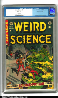 Weird Science #22 Gaines File pedigree 8/11 (EC, 1953). Another killer cover by the master of sci-fi, Wally Wood, and in...