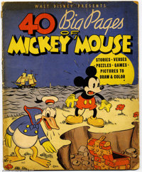 40 Big Pages of Mickey Mouse #1 (Warner Books, 1936). This linen book is extremely rare and almost never offered for sal...