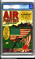Bronze Age (1970-1979):War, Air Fighters Comics vol. 2 #5 Mile High pedigree (Hillman, 1944). Great action cover as Airboy, guns a'blazing, tears down t...