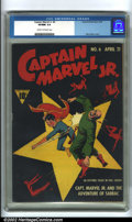 Golden Age (1938-1955):Superhero, Captain Marvel Jr #6 (Fawcett, 1943). A classic Mac Raboy cover shows Captain Marvel Jr. beating the stuffing out of a thug....