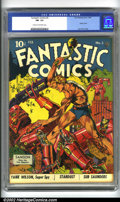 Golden Age (1938-1955):Superhero, Fantastic Comics #3 (Fox, 1940). This issue spotlights a trulyclassic cover by Lou Fine, considered by many comics connoiss...
