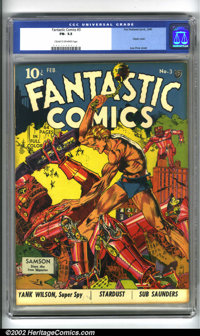 Fantastic Comics #3 (Fox, 1940). This issue spotlights a truly classic cover by Lou Fine, considered by many comics conn...