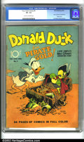 Golden Age (1938-1955):Funny Animal, Four Color Comics #9 (Dell, 1942). An historic key, this issuecontains the first Donald Duck story drawn by Carl Barks, con...