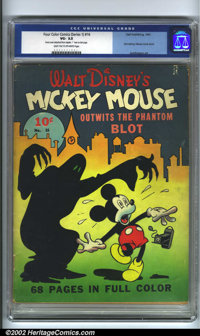 Four Color Comics #16 (Dell, 1941). This is the first Mickey Mouse comic book from 1941. There were other publications f...