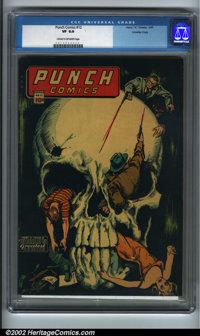 Punch Comics #12 Crowley pedigree (Chesler, 1945). This is it, one of the most gruesome skull covers from the Golden Age...