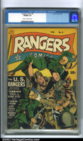 Golden Age (1938-1955):War, Rangers Comics #9 (Fiction House, 1943). A great war comic with acover celebrating the U.S. Rangers, this time stomping a b...