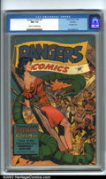 Golden Age (1938-1955):Superhero, Rangers Comics #31 Rockford pedigree (Fiction House, 1946). Anothergreat Fiction House cover featuring a scantily-clad dams...