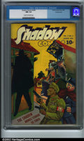 """Golden Age (1938-1955):Crime, Shadow Comics vol. 4, #5 Crowley pedigree (Street & Smith, 1944). """"The Shadow brings terror to Tokyo!"""" An interesting cover ..."""
