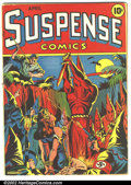 Golden Age (1938-1955):Superhero, Suspense Comics #3 (Continental Magazines, 1944). The quintessential Golden Age cover, Suspense #3 gained a whole new no...