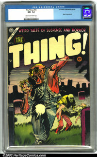 """The Thing! #16 (Charlton, 1954). A very popular pre-code horror comic, this has a striking cover and features an """"i..."""