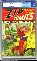 Golden Age (1938-1955):Superhero, Zip Comics #5 Mile High pedigree (MLJ, 1940). Steel Sterling smashes the enemy in a thrilling Charles Biro cover, highlighti...