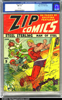 Zip Comics #5 Mile High pedigree (MLJ, 1940). Steel Sterling smashes the enemy in a thrilling Charles Biro cover, highli...