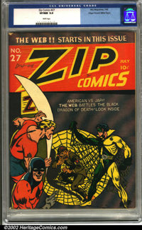 Zip Comics #27 Mile High pedigree (MLJ, 1942). A bold cover by Irv Novick graces this key issue, which features the firs...