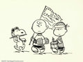 Original Comic Art:Sketches, Charles Schulz - Original Peanuts Sketch (undated). A fantastic piece of art drawn by Charles Schulz with Charlie Brown, Lin...