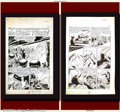 """Original Comic Art:Complete Story, Unidentified Artist - Original Art for Weird Tales of the Future """"The Worm Turns"""" - Complete 4-Page Story (SPM, 1952). Compl..."""