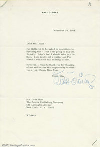 Walt Disney Signed Letter (1964). A cartoonist, motion picture producer, and businessman, Walt Disney was a legend in th...