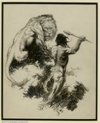 Frank Frazetta - Original Illustration of Tarzan and the Golden Lion (Canaveral Press, 1962). Frazetta reached his highe...