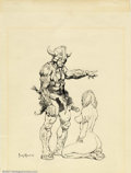 Original Comic Art:Miscellaneous, Frank Frazetta - Original Illustration (1975). This ink drawing ofa barbarian and a kneeling girl contains elements of Fraz...