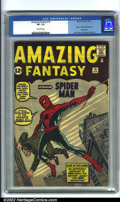 Silver Age (1956-1969):Superhero, Amazing Fantasy #15 (Marvel, 1962). This book needs nointroduction. This first appearance of Spider-Man has been one ofthe...