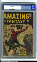 Silver Age (1956-1969):Superhero, Amazing Fantasy #15 (Marvel, 1962). Tremendously important comicbook, being the origin and first appearance of the Amazing ...