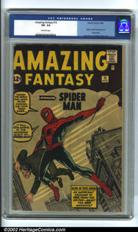 Amazing Fantasy #15 (Marvel, 1962). Tremendously important comic book, being the origin and first appearance of the Amaz...