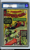 Silver Age (1956-1969):Superhero, The Amazing Spider-Man #14 (Marvel, 1964). Presented here is thefantastic debut of the most evil Spider-Man villain ever: N...
