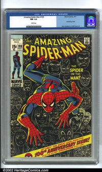 The Amazing Spider-Man #100 (Marvel, 1971). A classic anniversary issue with a dynamic John Romita, Sr. cover, and featu...